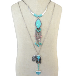 N-6355 Bohemian Vintage Long Double Chain Fringe Necklace Enamel Moon Tassels Beaded Elephant Turquoise Pendant Necklace
