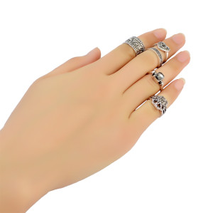 R-1391 5 Pcs/set Resin Stone Rhinestone Ring Silver Plated heart shape hand shape crystal Finger Rings for women jewelry
