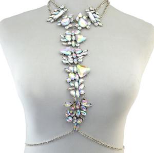 N-6360 Fashion Women Summer Beach Silver  Chain Charm Sexy Body Chain Resin Flower Crystal Rhinestone Necklace Jewelry