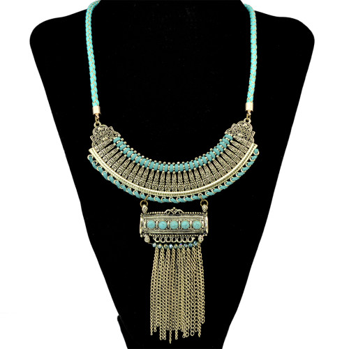 N-6359 Bohomian Fashion Silver Gold Pendant & Necklace Natural Turquoise Long Tassel Chain Necklaces Women Jewelry