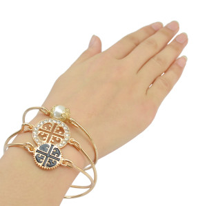 B-0771 European Fashion Style 3pcs Gold Plated Pearl Circular   Bangle Bracelet