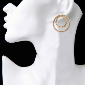 E-3833 Simple Design Style Hanbdmade Female Popular Silver /gold Plated Round Shape Stud Earring