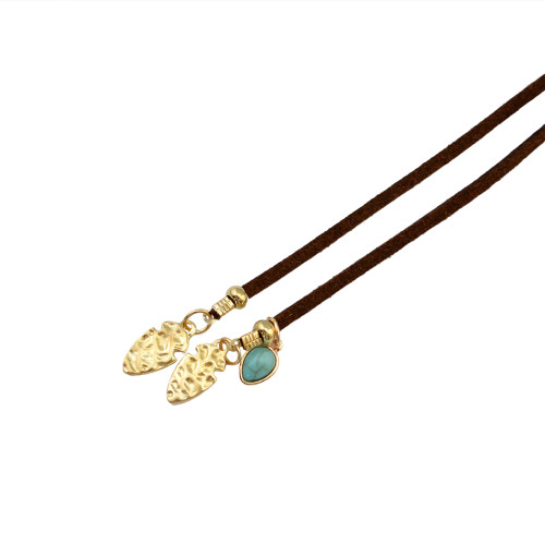 N-6356 bohemain vintage style gold plated Leather Chain leaf shape pendant collars Necklace Jewelry for women