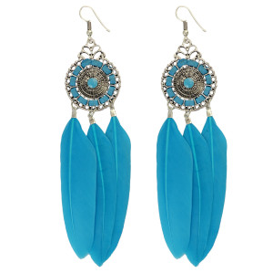 E-3834 Bohemian Fashion Jewelry Hallow Out Drop Leaves Feather Dangle Hook Earrings for Women 2 Colors