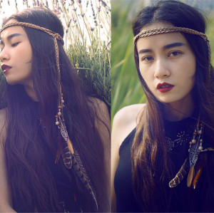 F-0341 Bohemian Handmade Retro Style Rope Chain Natural Stone Feather Tassel Headdress  Hairband Accessory