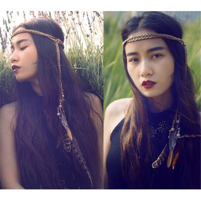 F-0341 Bohemian Handmade Retro Style Rope Chain Natural Stone Feather Tassel Headdress  Hairband Accessory