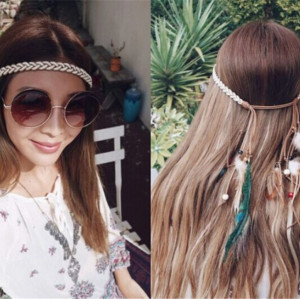 F-0343 Bohemian Handmade Headband Weave Rope Chain Wooden Beaded Feather Tassel Headdress Hairband Women Jewelry