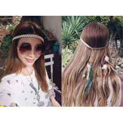 F-0343 Bohemian Handmade Headband Weave Rope Chain Wooden Beaded Feather Tassel Headdress Hairband Women Jewelry