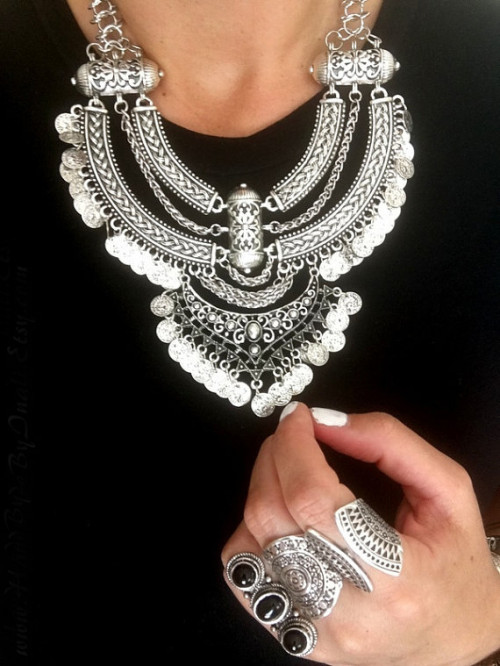 N-5688 Vintage Silver Gold Chains Fine Jewelry Gypsy Coins Tassel Choker Necklace Women Big Flower Moon Statement Necklace