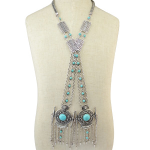 N-6362 Fashion Silver Plated Long Tassel Pendant Necklace Inlay Natural Turquoise Beaded Rhinestone  Chain Necklaces Women Jewelry