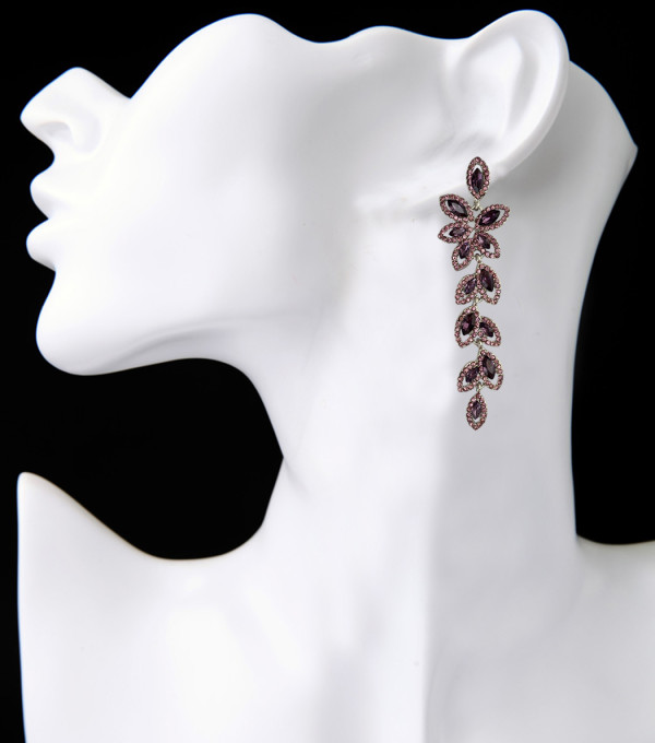 E-3847 Fashion Silver Plated Full Crystal Rhinestone Leaf Shape Charm Dangle Earring Bracelet Jewelry Set for Women B-0778