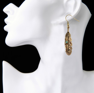 E-3844 Bohemian vintage style gold & silver p;ated Dangle Earring turquosie  leaf shape Earring for Women