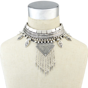 N-6366 Fashion Silver Plated Choker Necklace Handmade Metal Leather Chain Statement Collar Neklace for Women Jewelry
