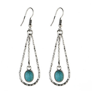 E-3843 Bohemian Big Long Silver/Gold Plated Drop Earrings Natural Turquoise Beaded Fish Hook Dangle Earring