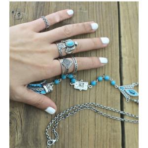 R-1366 6Pcs/set Korea Fashion bird shape silver plated Metal Rinestone finger rings for women Wedding Jewelry