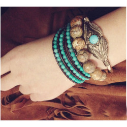 B-0735 Bohemia Vintage Antique Silver Gold Turquoise Leaf Shape Openable Cuff Bangle Bracelets