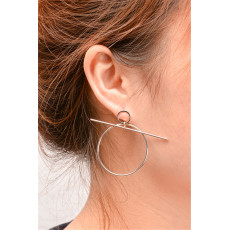 E-3842 Simple Design Female Popular Silver Gold Round Shape Ear Stud Earrings For Women Jewelry