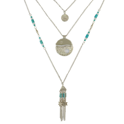 N-6372 Bohomian Vintage Style Fashion Silver Plated Turquoise Tassel Necklace for Women Jewelry