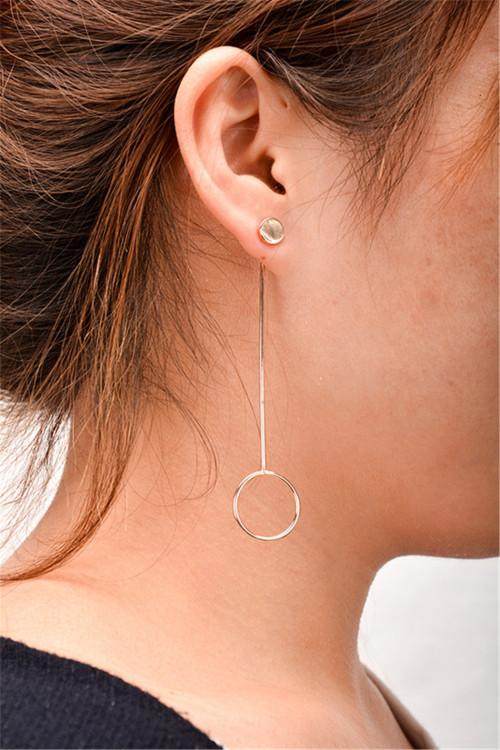 E-3841 Korean Fashion Metal Circle Pendant Earring Simple Long Drop Stud Backings Earrings for Women