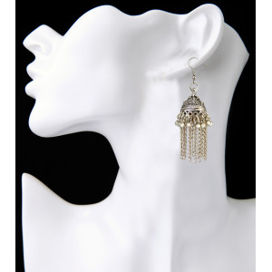 E-3840 Fashion Women' s Silver Plated Carved Flower Shape  and Hap Shape Dangle Long Tassel Beads Hook Earring