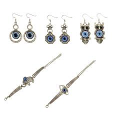 E-3852 5 Styles Bohemian Silver Opals Drop Earrings Owl Elephant Eyes Shape Bracelets For Women Jewelry Set B-0814