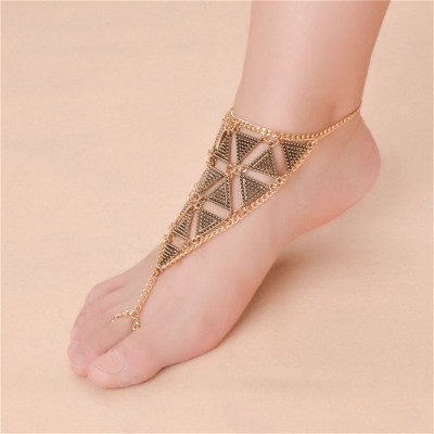 B-0779 Fashion Summer Bohemian Style Silver Gold  Plated Chain  Turkish Triangle shape Women Anklet Jewelry