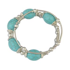 B-0776 Boho Summer Women Natural Big Turquoise 3 Multilayer Candy Design Bangle Adjustable Bracelet