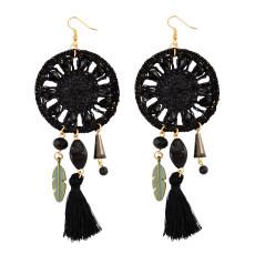 E-3850 Pure Handmade Exaggerated Big Long Drop Earring Gemstone Beads Rope Chain Tassel Leaf Earrings 2 Colors