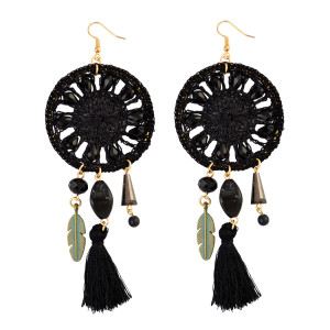 E-3850 Pure Handmade Exaggerated Big Long Drop Earring Gemstone Beads Rope Chain Tassel Leaf Earrings 2 Colors