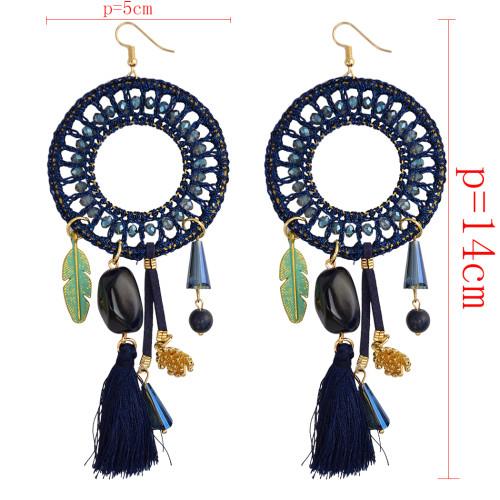 E-3849 Fashion Handmade Exaggerated Big Long Drop Earring Red/Blue Resin Beads Rope Chain Tassel Leaf Dangle Earrings