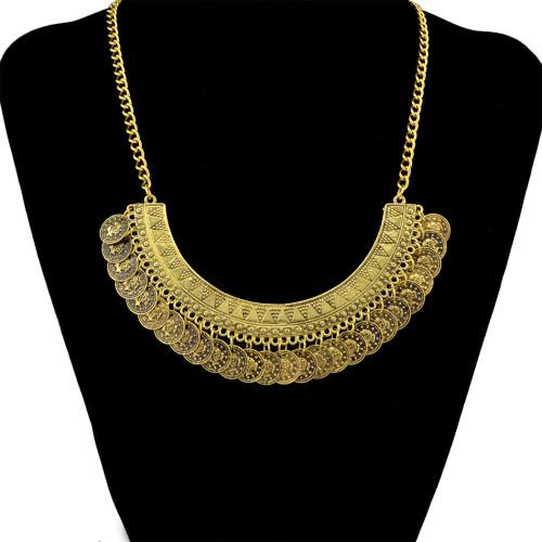 N-5095  Flower Child Silver Golden Coin Bib Necklace Adjustable Handmade floral design. Boho Gypsy Beachy Ethnic Tribal Festival Jewelry Turkish Bohemian