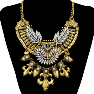 N-5491 New Design Gypsy Exaggerate Rhinestone Leaves Necklace Vintage Jewelry Gold Silver Chain Big Acrylic Flower Pendant Statement Necklace