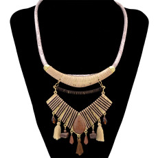 N-6386 3 Colors bohemian vintage style silver plated long chain resin stone pendant Necklace for Women Jewelry