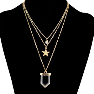 N-6383 3 Layers Gold Chain Fashion Necklace Stars Crystal Stone Necklaces Women Jewelry
