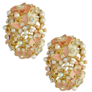 E-0219 new style charming pearl rhinestone flower butterfly earring ear stud