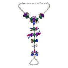 B-0786 Fashion Women Summer Beach Boho Charm Crystal Rhinestone Flower Beads Beachy Anklet Jewelry