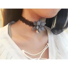 N-6384 Korea Fashion Handmade White Black  Lace Pearl Flower Bib Necklace for Gril