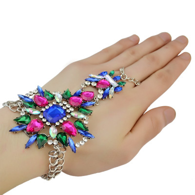 B-0784 Bohemian Fashion Style Silver Plated Summer Beach  Charm Crystal Flower Beads Beachy Anklet Bracelet Jewelry for Women