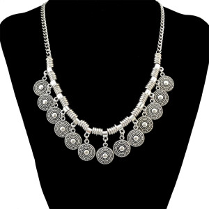 N-6394 Bohemian Silver Fashion Choker Necklace Coins Pendant Necklace For Women Jewelry