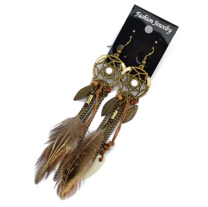 E-3855 Vintage Antique Silve Plated  Fashion Long Tassel Feather Resin Beads Drop Earrings  Fish Hook  Earrings For Women Jewelry