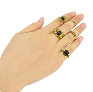 R-1390 Vintage Gold /Silver Plated Black Turquoise Gypsy Joint  Fashion 5 pcs Midi Finger Rings Set Jewelry