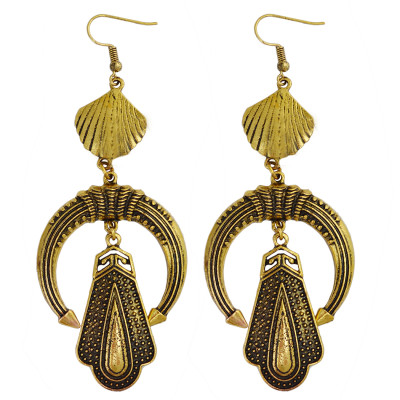 E-3858 Vintage Silver Alloy Exaggerated Earring Long Big Drop Dangle Fish Hook Earrings