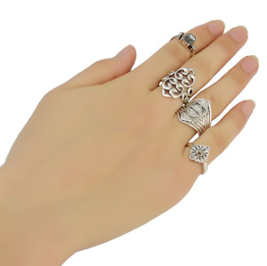 R-1389 bohemian Vintage Gold /Silver Plated Turquoise Gypsy Fashion style 4 pcs Midi Finger Rings Set Jewelry