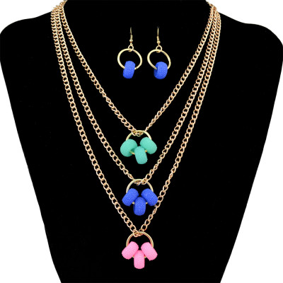 N-6418 Delicate Layering Pendant Muitilayer Chains Pendant Circle Beads Necklaces Drop Dangle Earring Necklace Jewelry Set