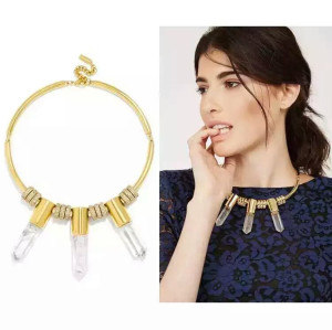 N-6411 Wholesale Fashion Exquisite Crystal Gold Plated Short Chain Statement  Choker Necklace and Round Shape Pendant Earring Set for Women Jewelry
