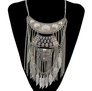 N-6392 Bohemian vintage Silver & gold plated leaves shape tassel Necklace moon shape Pendant Necklace For Women Jewelry