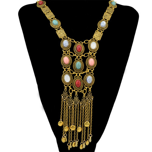 N-6391 Vintage Silver Gold Plated Chain Turquoise Bead Opal Stone Long Tassel Pendant Statement Necklace for Women