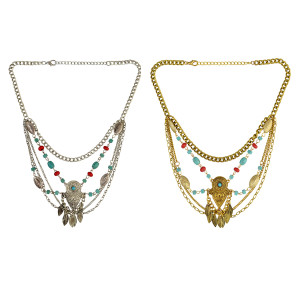 N-6390 Bohemian Silver Gold Fashion Necklace Resin Beaded Leaf Tassel Chain Pendant Necklaces Women Jewelry