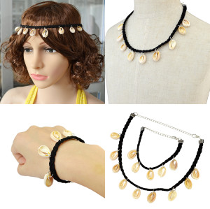 N-6388 Bohemian Fashion Leather Chain nutural shell Pendant Necklaces & bracelet & hairband For Women Jewelry