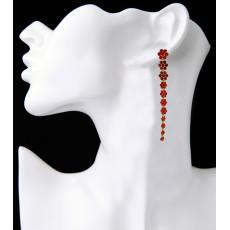 E-3860 bohemian Vintage Antique Silver Plated  Fashion style flower shape crystal Tassel Drop Earrings For Women Jewelry